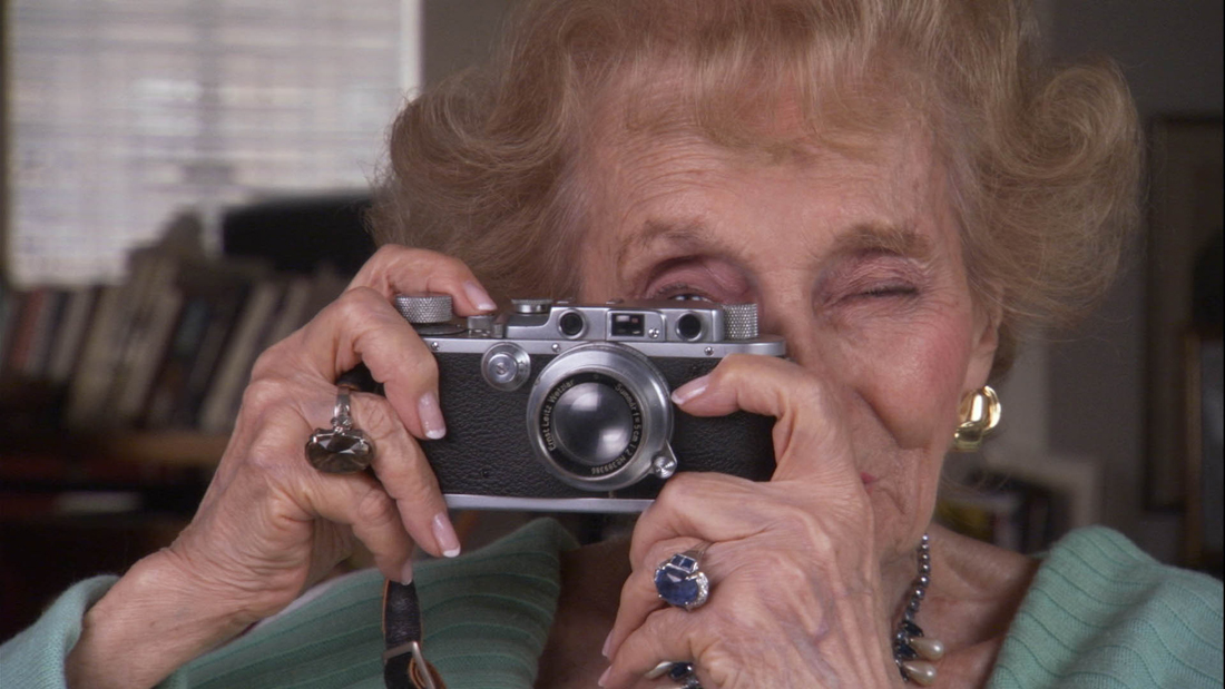 NCJF Ruth Gruber and her Leica camera. Courtesy of The National Center for Jewish Film